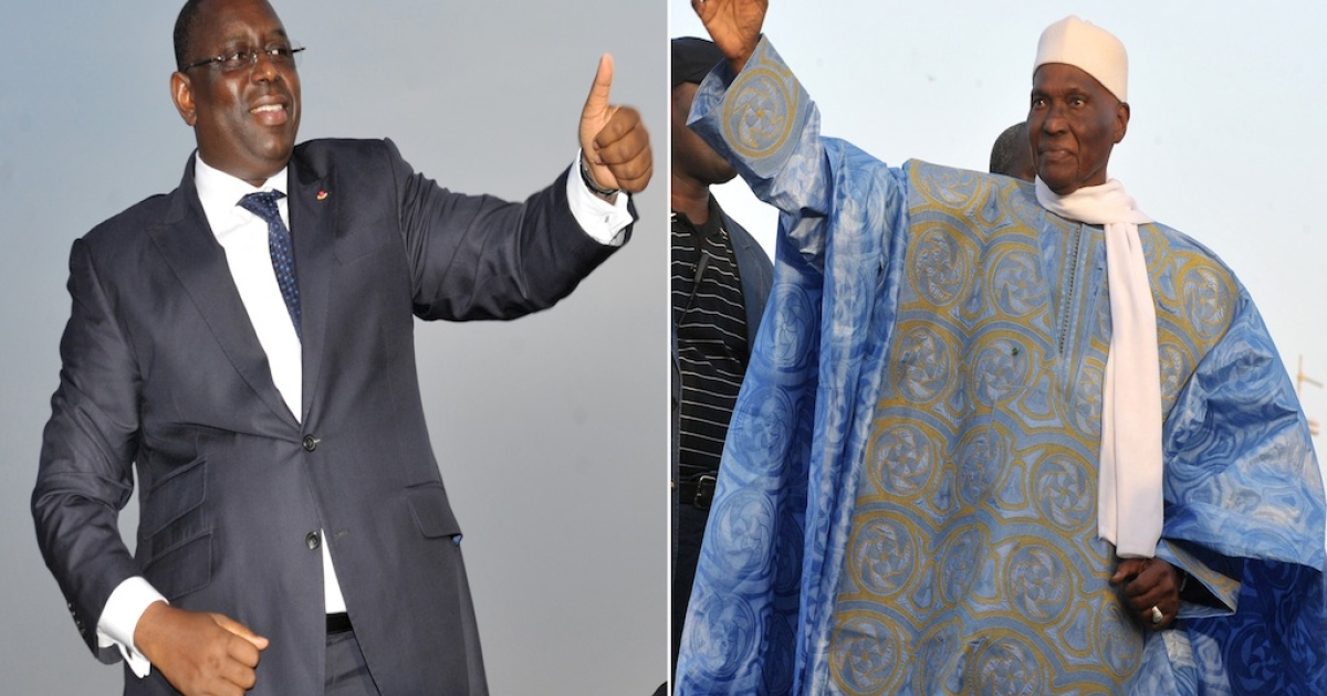 A combination of two pictures taken in Dec. 2011 in Dakar shows (L) former Senegalese Prime Minister and opposition candidate of the Alliance pour la Republique (APR) Macky Sall and (R) current Senegalese president and presidential candidate Abdoulaye Wade.</p>