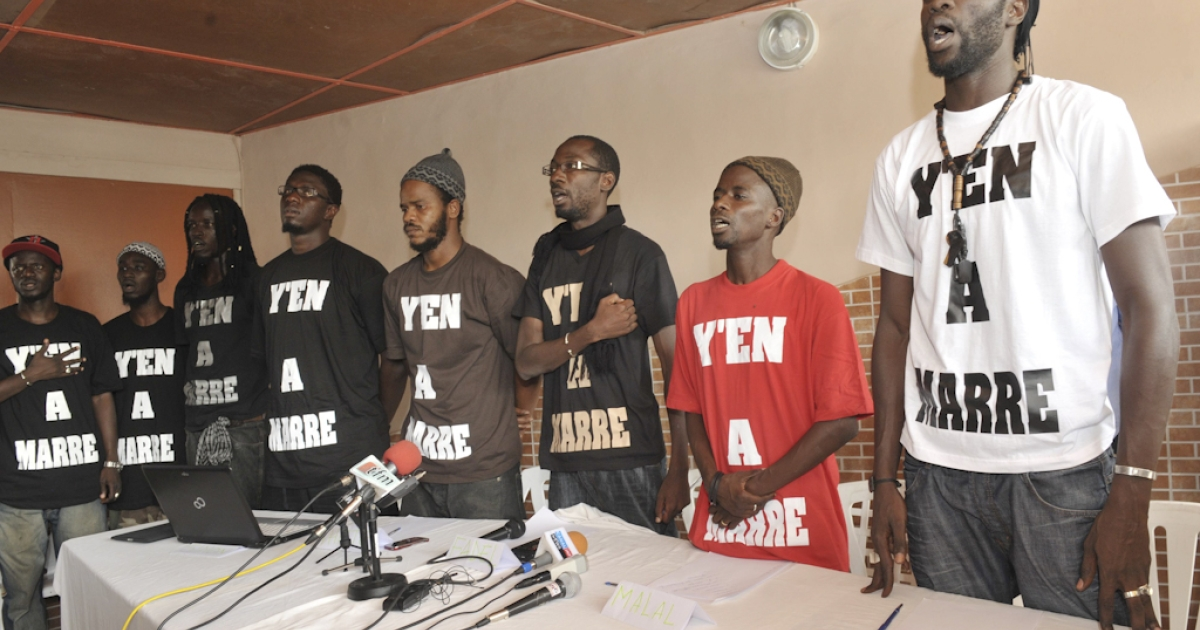 Leaders of a movement created by young Senegalese rappers hold a press conference on June 27, 2011 urging President Abdoulaye Wade to give up controversial efforts to run for a third term in February 2012 elections.The 'Fed Up' (Yen a Marre) movement, created in January to denounce social injustice, the high cost of living and the 'chaos' in Wade's regime, urged the 85-year-old leader to step aside.</p>