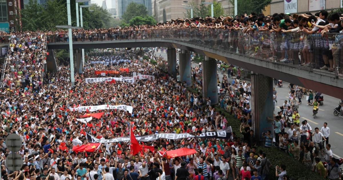 This picture taken on August 19, 2012 shows thousands of Chinese protesters as they take part in a demonstration in Chengdu, southwest China's Sichuan province against Japan's claim of the Diaoyu islands, as they are known in Chinese, or Senkaku islands in Japanese.</p>