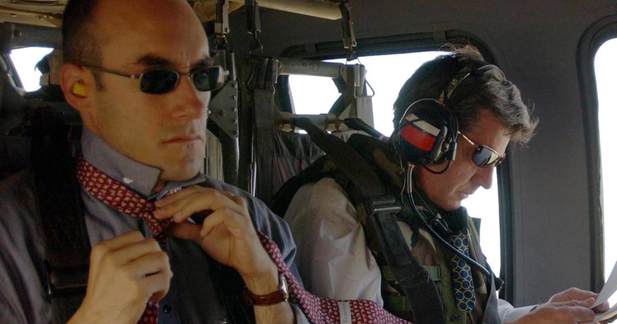 Dan Senor (L) with Paul Bremer in 2004.</p>