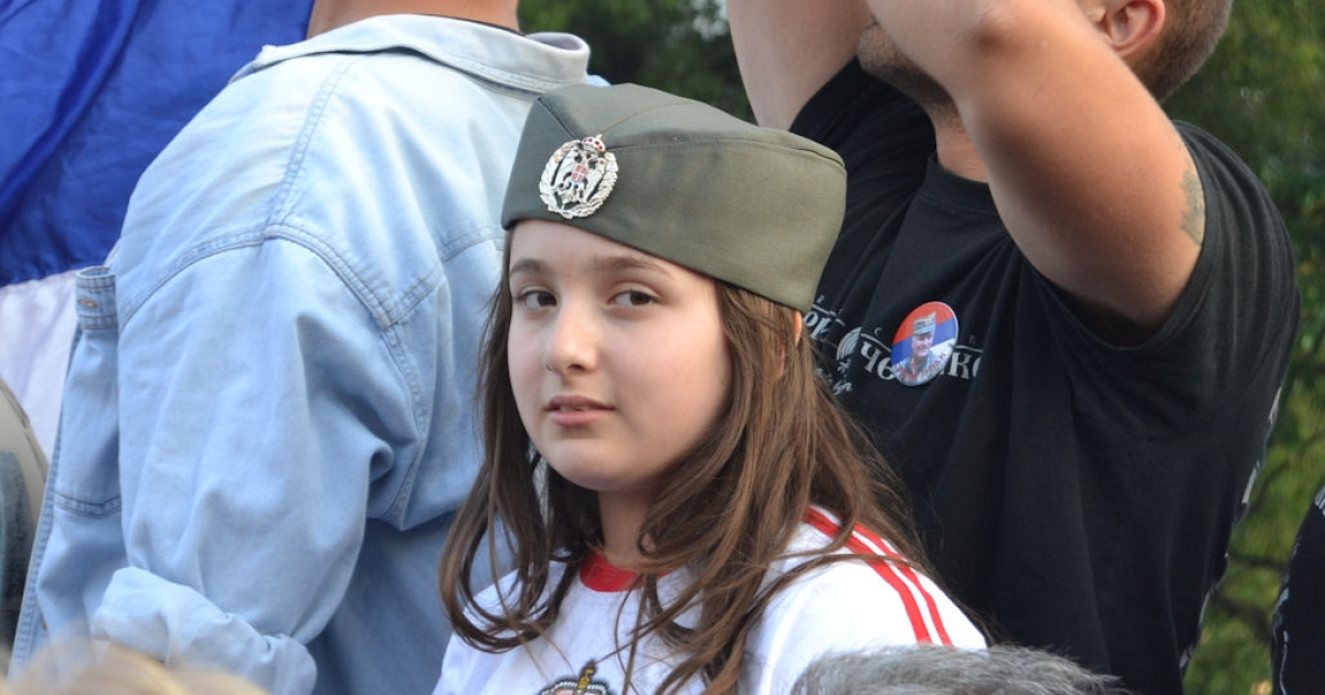 A young girl attends a nationalist rally on May 29, 2011 in Belgrade, Serbia.</p>