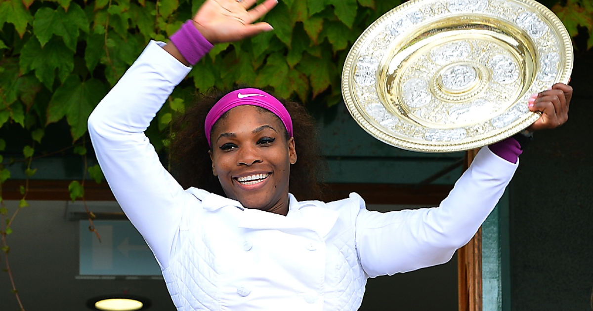Serena Williams celebrates with the Venus Rosewater Dish after winning the women's final at Wimbledon on July 7, 2010. She beat Poland's Agnieszka Radwanska 6-1, 5-7, 6-2.</p>