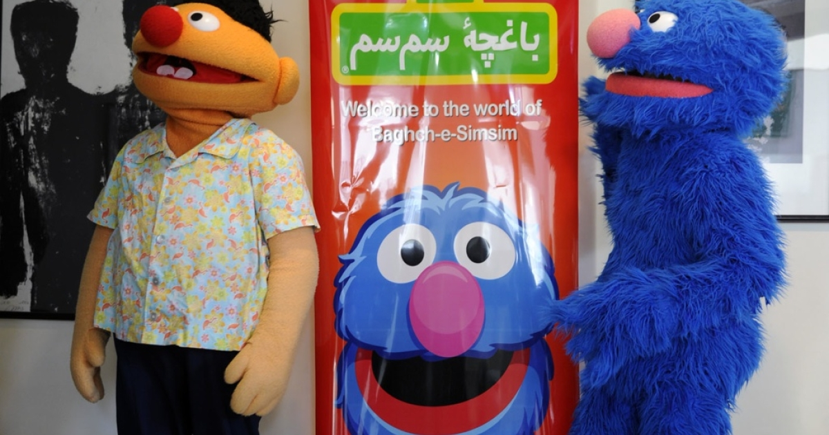 Kajkoal and Hadi, or Ernie and Grover to most, at the launching of the Afghan version of Sesame Street, Baghch-e-SimSim, on Nov. 30 in Kabul.</p>