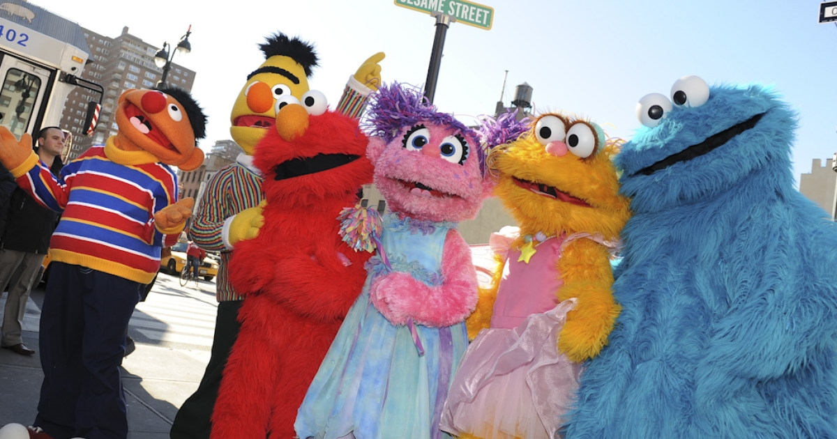 Sesame Street Live characters (L-R), Ernie, Bert, Elmo, Abby Cadabby, Zoe and Cookie Monster celebrate the renaming of the corner of 31st Street and Eighth Avenue to 'Sesame Street' outside Madison Square Garden in New York. Sesame Street's YouTube channel was taken offline October 17, 2011, after being hit by hackers that uploaded porn videos.</p>