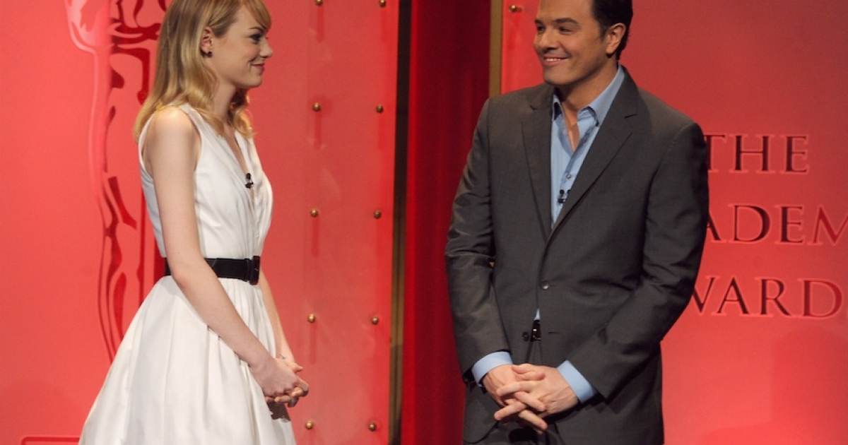 BEVERLY HILLS, CA - JANUARY 10: Emma Stone and Seth MacFarlane announce the nominees at the 85th Academy Awards Nominations Announcement at the AMPAS Samuel Goldwyn Theater on January 10, 2013 in Beverly Hills, California.</p>
