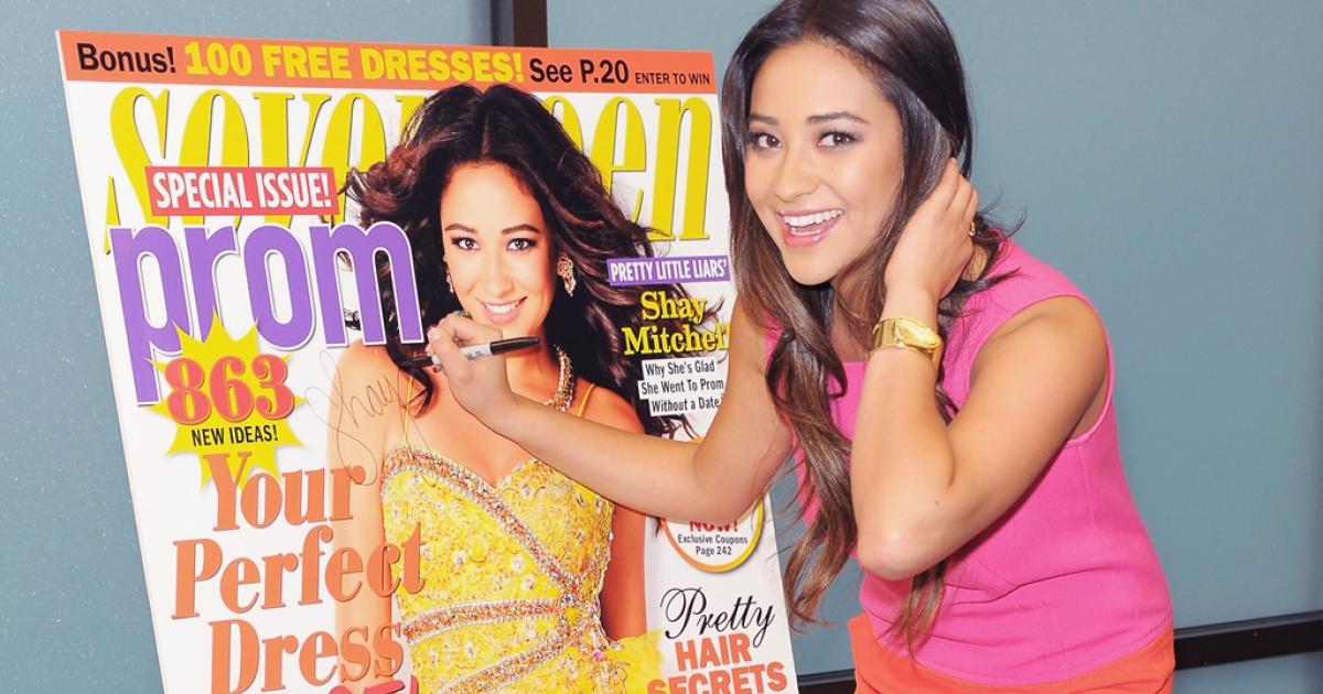 Actress Shay Mitchell promotes Seventeen's Prom Issue at a bookstore in Mar. 2012. The magazine has pledged to feature 'real girls' only after an online petition started by the 14-year-old blogger Julia Bluhm.</p>