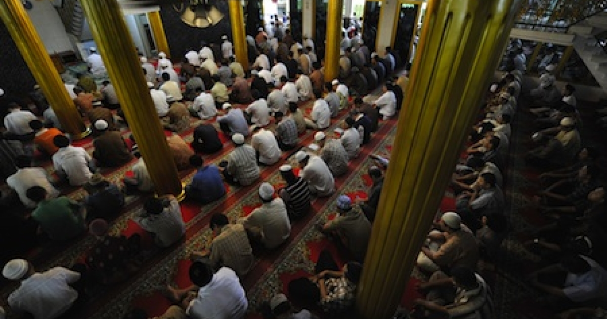 Friday prayers at a mosque in central Jakarta, Indonesia.</p>