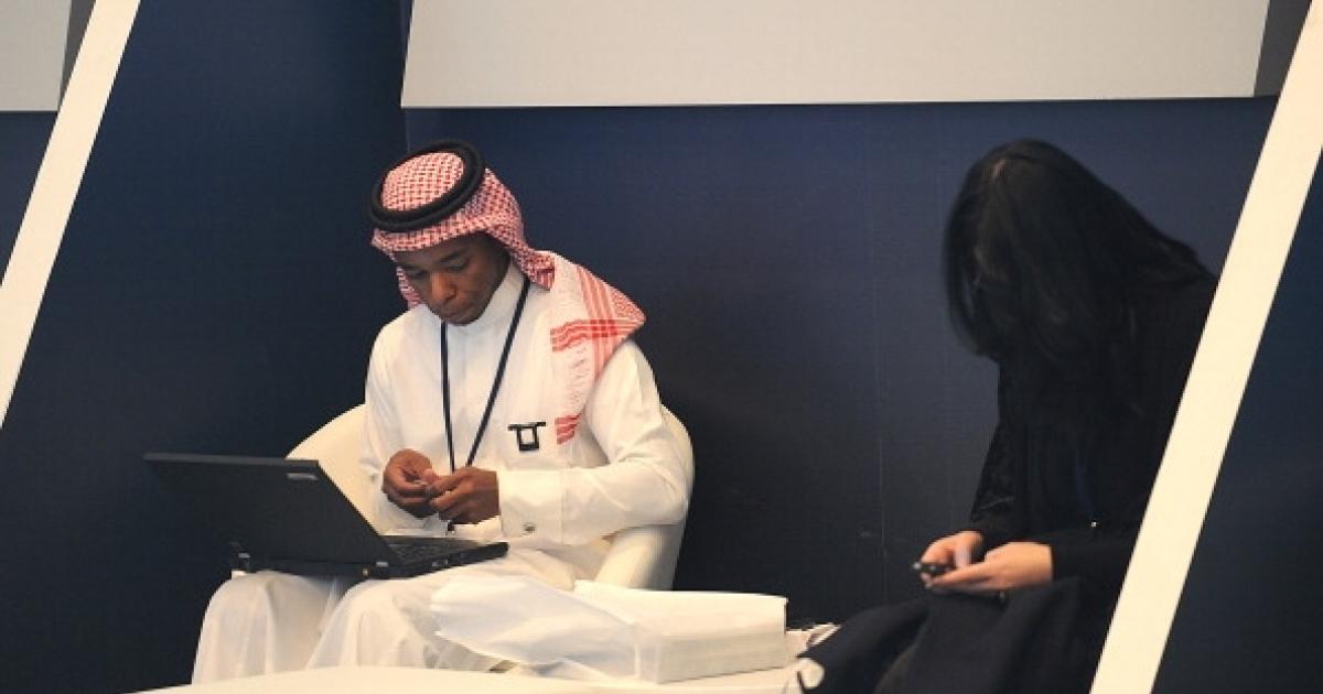A Saudi man and woman at a hotel in Riyadh, Saudi Arabia on January 22, 2012.</p>