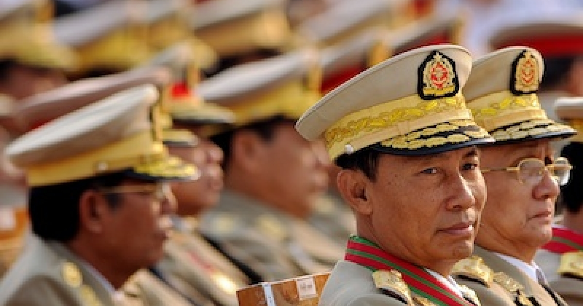 Former Myanmar general-turned-house speaker Thura Shwe Mann and president Thein Sein attend a military parade marking the country's 65th Armed Forces day at a parade ground on March 27, 2010.</p>