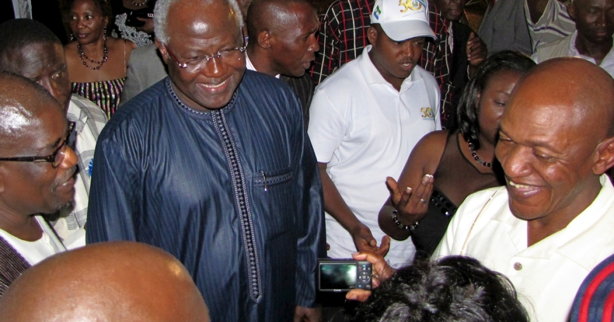 Sierra Leone's President Ernest Bai Koroma greeting guests after delivering a speech at an April 23, 2011, reception celebrating the 50th anniversary of Sierra Leone's independence.</p>