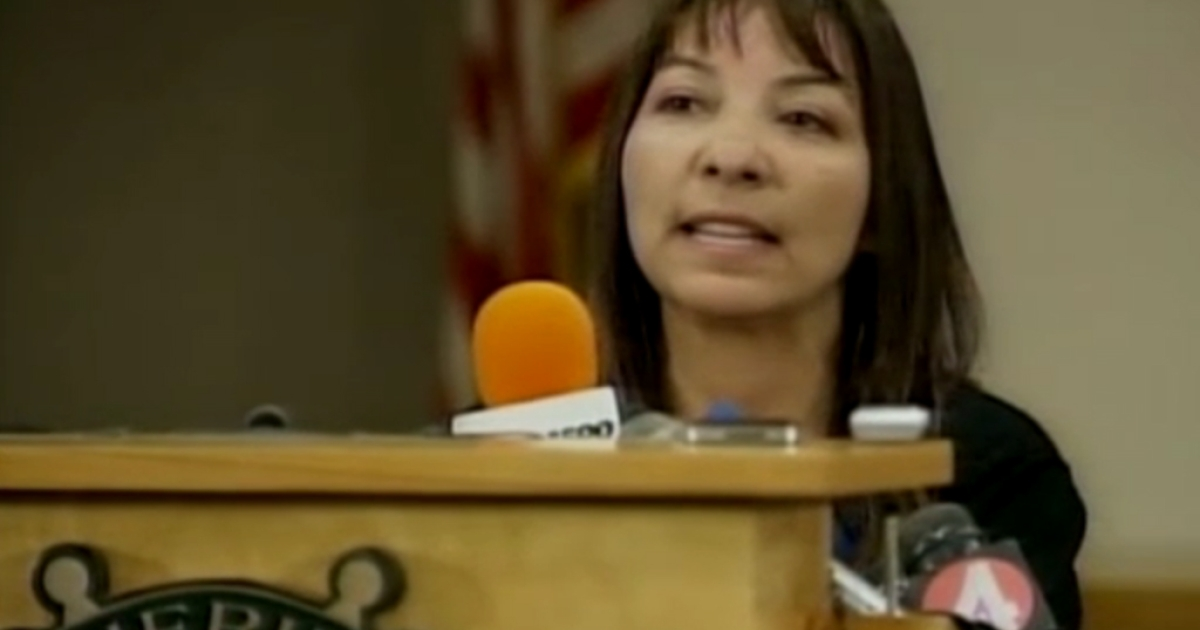 Sierra LaMar's mother Marlene speaks to reporters at a press conference Tuesday. Her daughter, who went missing on her way to school in March, is suspected to have been murdered by 21-year-old Antolin Garcia Torres.</p>