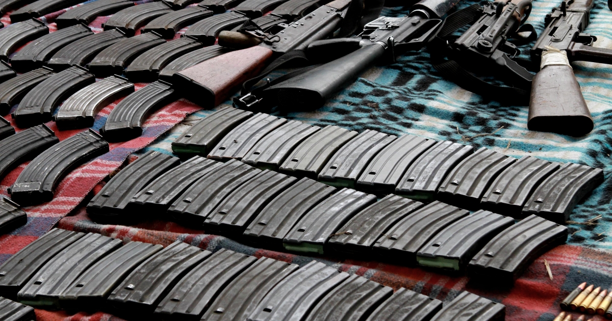 Picture of AK-47 and M-16 rifles seized to alleged members of drug cartels in the community of Paso de Ovejas in Veracruz, Mexico on March 6.</p>