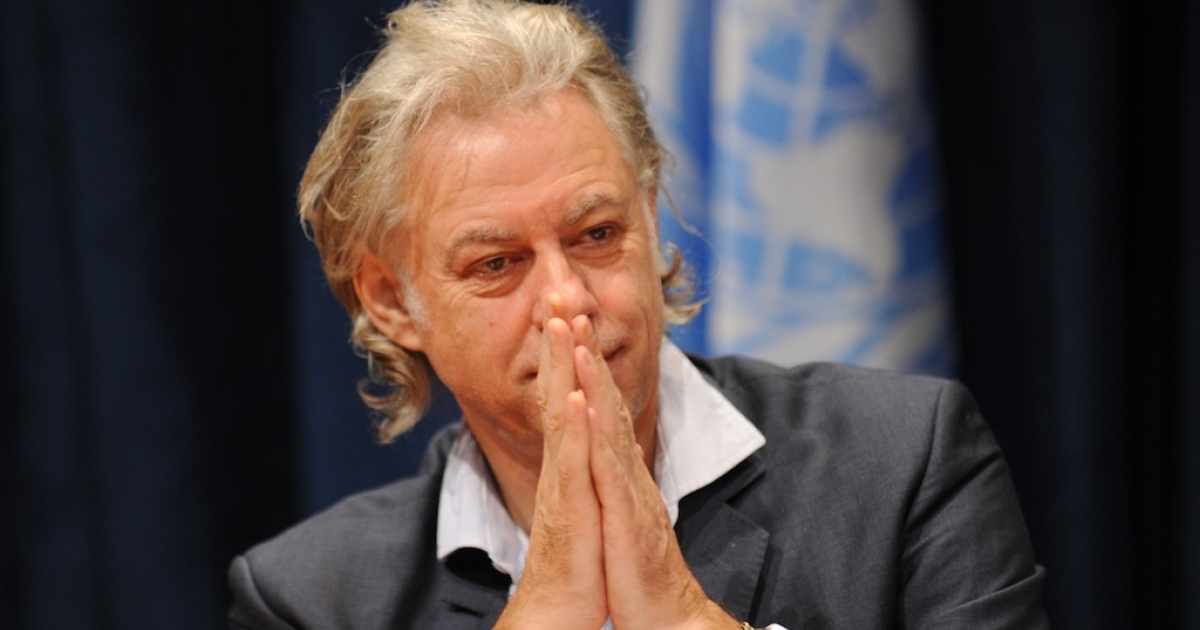 Musician and activist Bob Geldof attends a press conference on the situation in the Horn of Africa during the United Nations General Assembly September 24, 2011 at UN headquarters in New York.</p>