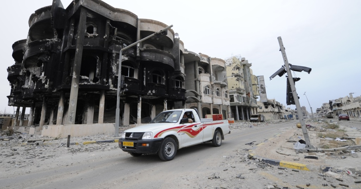 The town of Sirte has been heavily damaged by NATO airstrikes.</p>