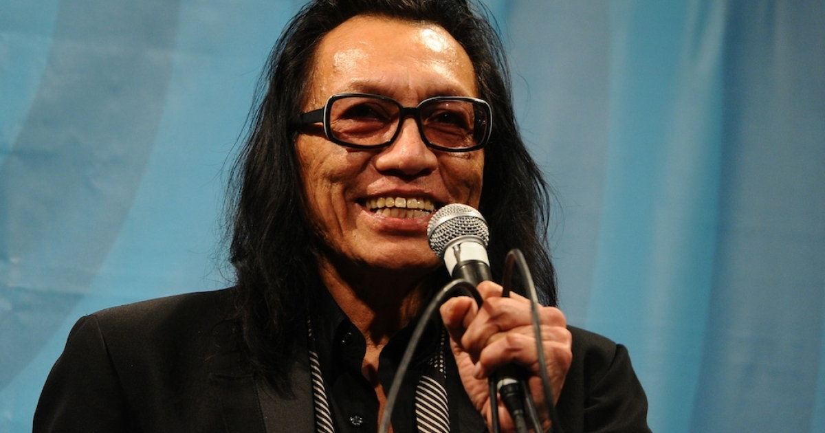 Musician Sixto Rodriguez speaks at a 'Searching for Sugar Man' screening at the 2012 SXSW Music, Film + Interactive Festival at Paramount Theatre on March 13, 2012, in Austin, Texas.</p>
