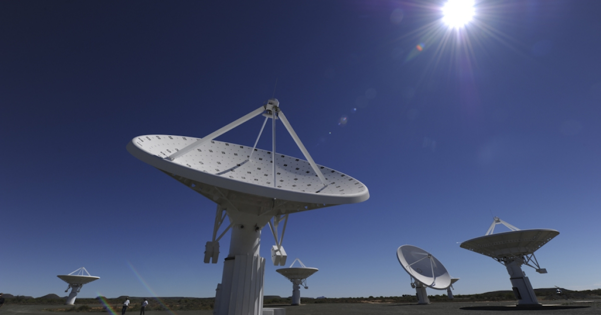 This picture taken on March 30, 2010 shows the Karoo Array Telescope construction site, part of the MeerKAT Project, in the Northern Cape. Australia and South Africa will share the location for the world's most powerful radio telescope, the Square Kilometre Array's scientific consortium announced on May 25, 2012.