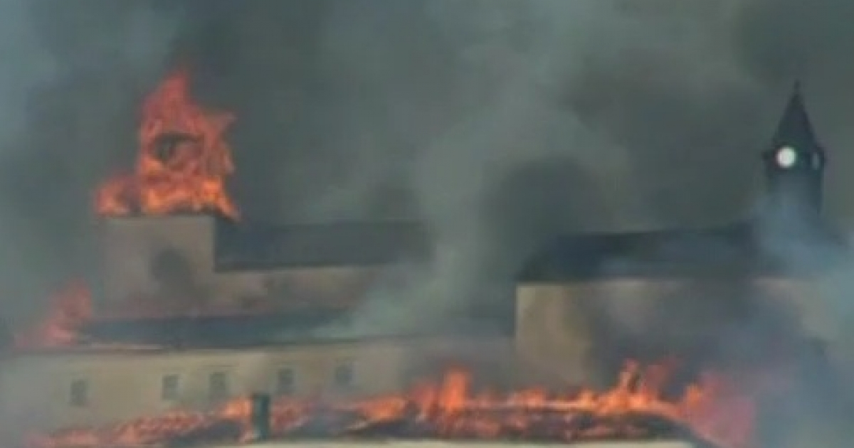 This image from BBC video shows the Krasna Horka castle in Slovakia on fire in March 2011.</p>