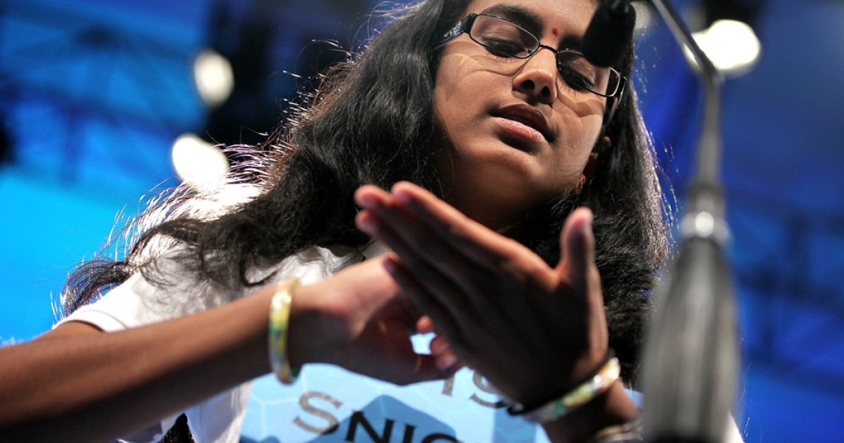 Spelling Bee contestant Snigdha Nandipati of San Diego, Calif., tries to spell her word during the round 4 of the Scripps National Spelling Bee in National Harbor, Md., on May 31, 2012.</p>