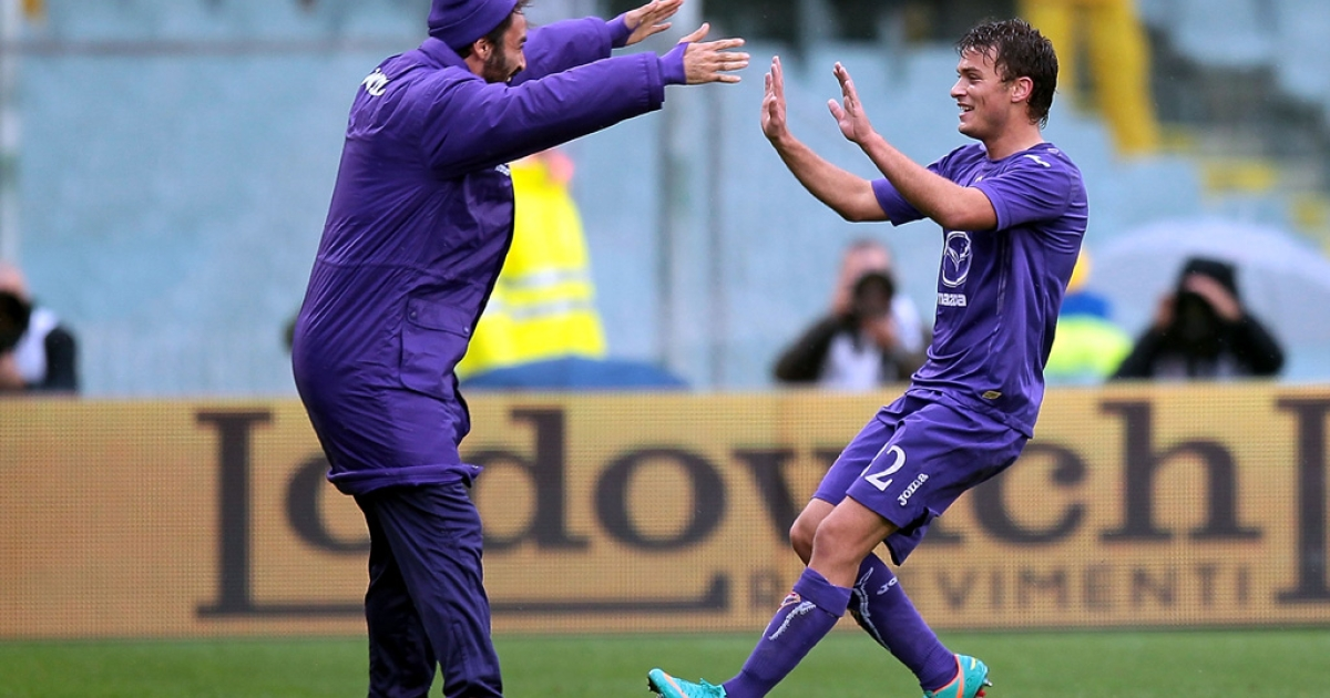Adem Ljajic (R) of ACF Fiorentina celebrates after scoring the opening goal during the Serie A match between ACF Fiorentina and S.S. Lazio at Stadio Artemio Franchi on Oct. 28, 2012 in Florence, Italy.</p>