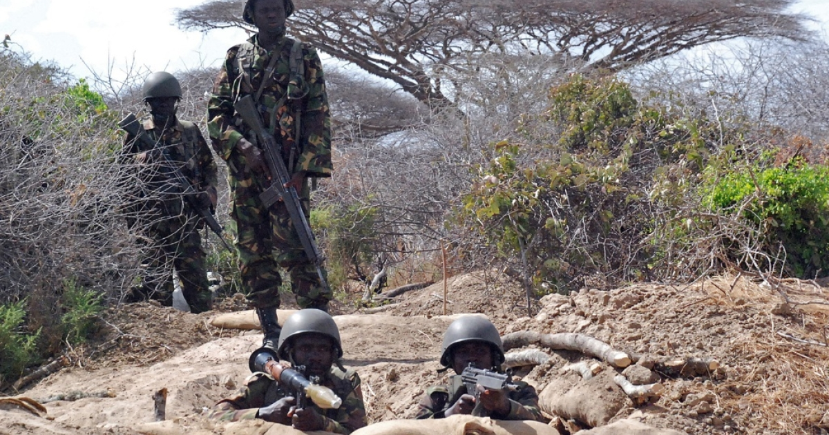 Kenyan Defence Force soldiers on the outskirts of Tabda in southern Somalia on February 20, 2012. Since Kenya's decision to send troops into Somalia in October 2011, the fight against terrorist group Al Shabaab has escalated further with the UN Security Council voting to increase the African Union peacekeeping force in Somalia by more than 5,000 soldiers.</p>