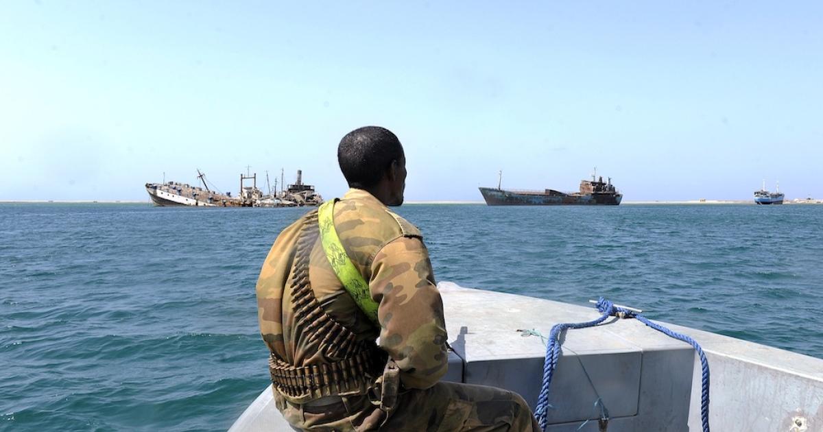 A Somali coastguard patrols off the coast of Somalia's breakaway Republic of Somaliland.</p>