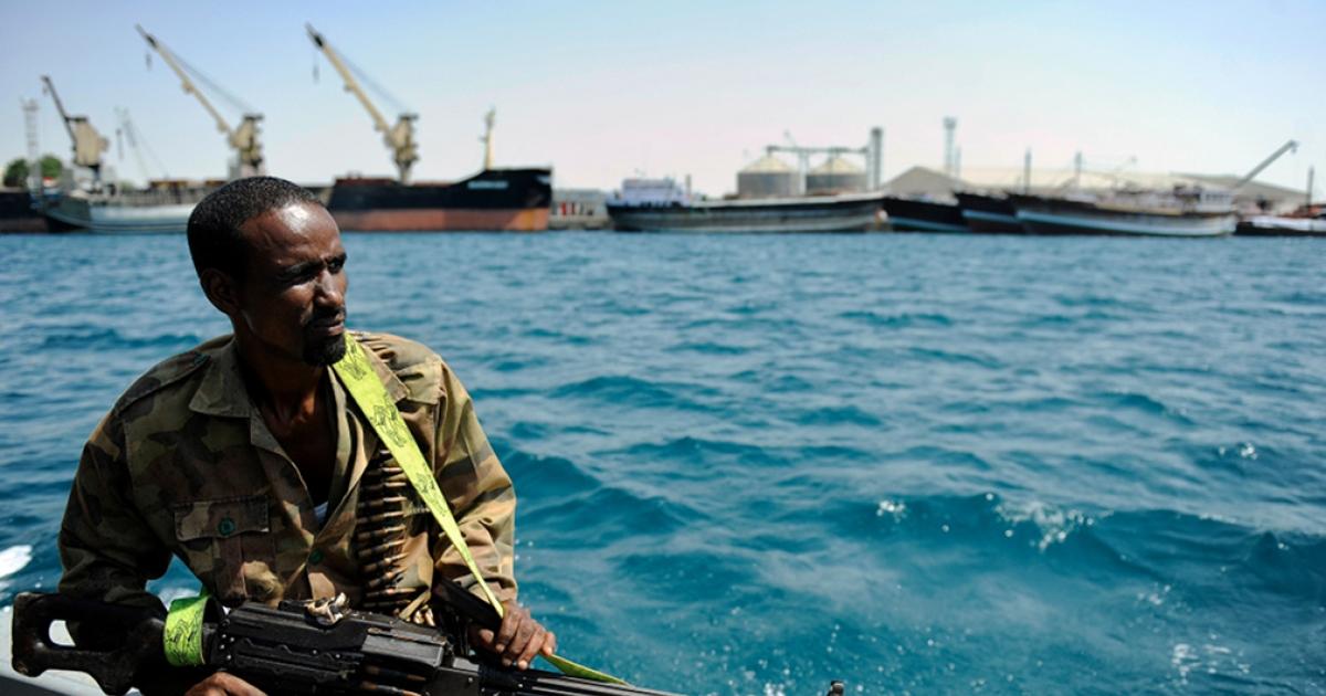 A Somali coastguard returns from a patrol off the coast of Somalia's breakaway Republic of Somaliland on April 30, 2011.</p>