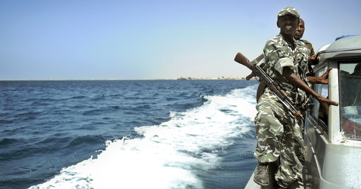 Somali coastguards patrol off the coast of Somalia's breakaway Republic of Somaliland on March 30, 2011. Piracy has flourished and turned increasingly violent over the last few years.</p>