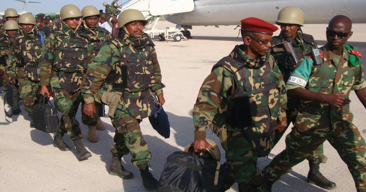 The first African Union contingent from Djibouti arrive at Mogadishu's Aden Ade international airport on December 20, 2011.</p>
