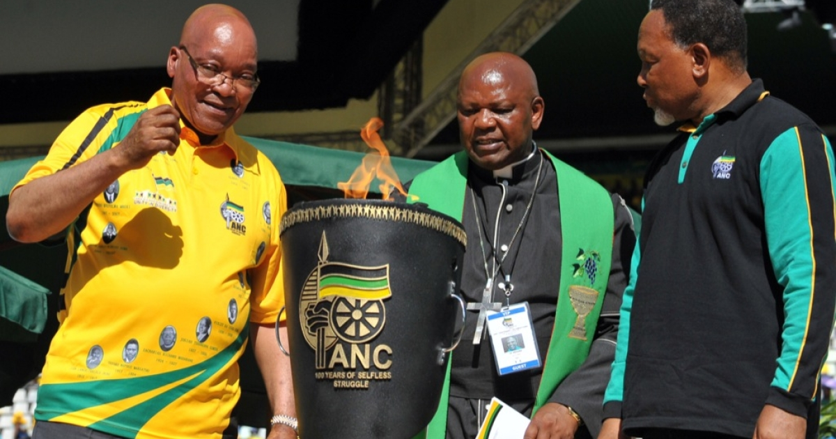 That's how they roll. Here, South Africa President Jacob Zuma (L) and South Africa's Deputy President Kgalema Motlanthe (R) look at the centenary flame during celebrations of the centenary of Africa's oldest liberation movement, South Africa's ruling ANC, in Bloemfontein on Jan. 8, 2012.</p>