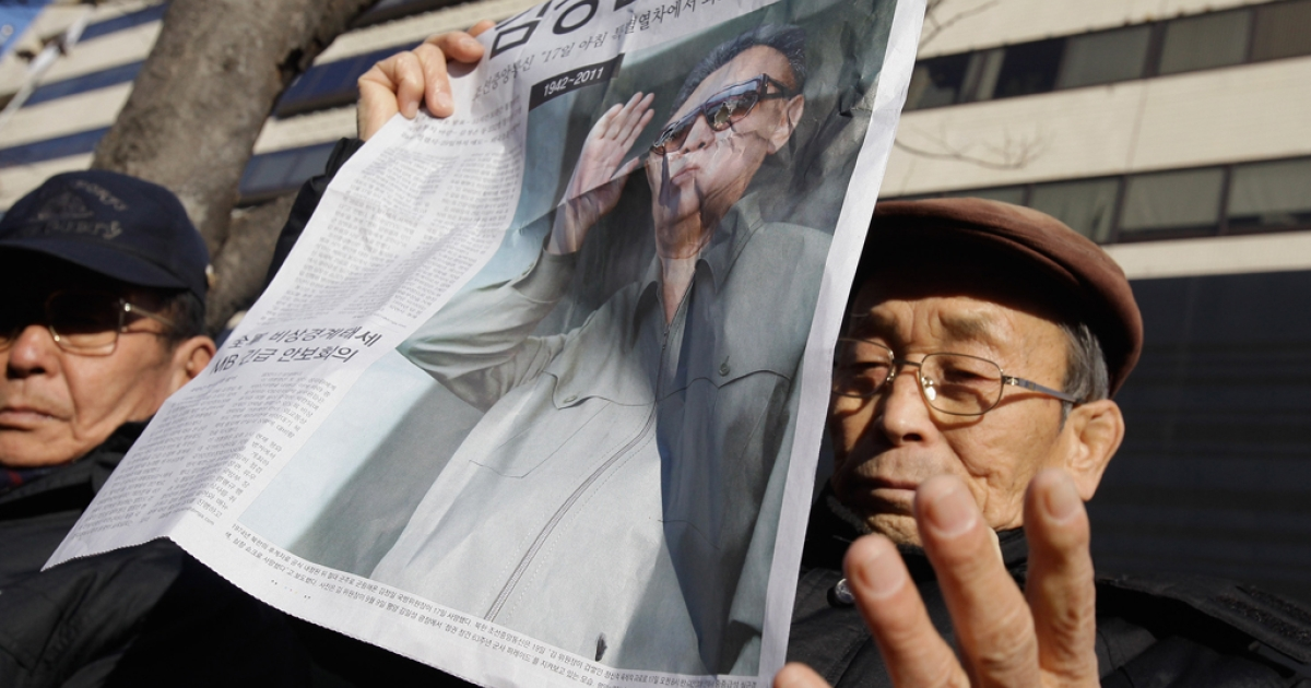 South Korean protesters participate in a rally celebrating the death of North Korean leader Kim Jong Il on Dec. 19, 2011 in Seoul.</p>