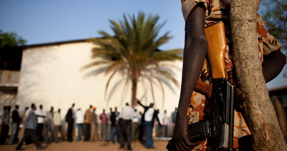 Southern Sudanese security forces on guard in Juba. Fighting broke out between soldiers in the capital on December 15, 2013, witnesses said, in what some observers branded a