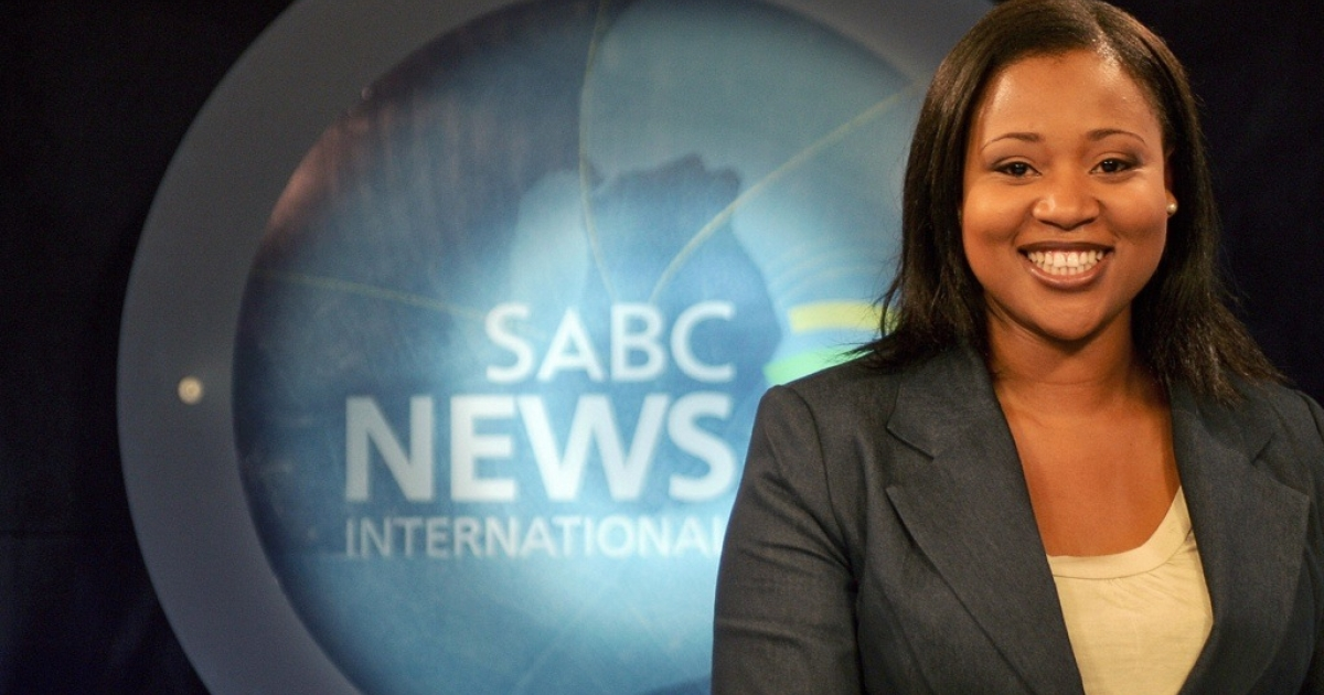 News reader Tshepang Motsekuoa on SABC News International in Johannesburg. South Africa's state-owned broadcaster is controversial because many claim that it covers the news the way the government wants.</p>