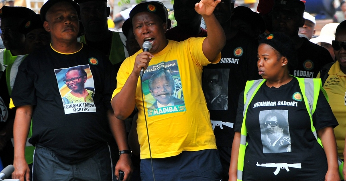 The youth wing of the ruling African National Congress (ANC) leader Julius Malema addresses militants on October 27, 2011, during a demonstration in downtown Johannesburg. He was suspended from the party in November 2011.</p>