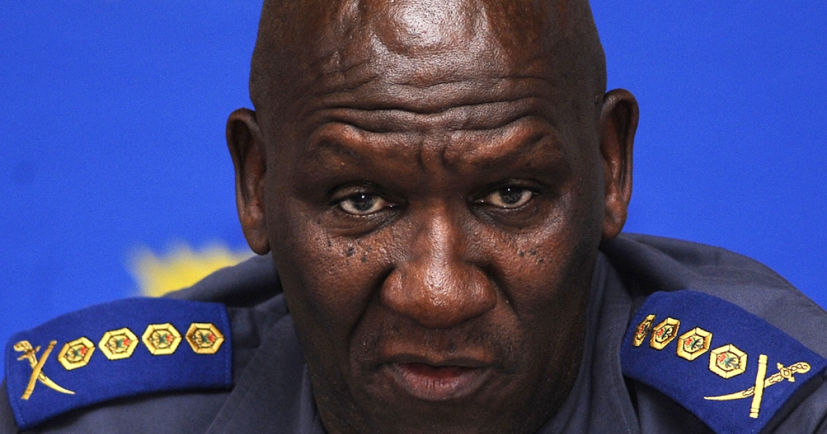 South African National police Commissioner Bheki Cele gives a press conference on November 18, 2010 in Cape Town after the police have arrested a second man in connection with the murder of a Swedish newlywed on her honeymoon in Cape Town.</p>
