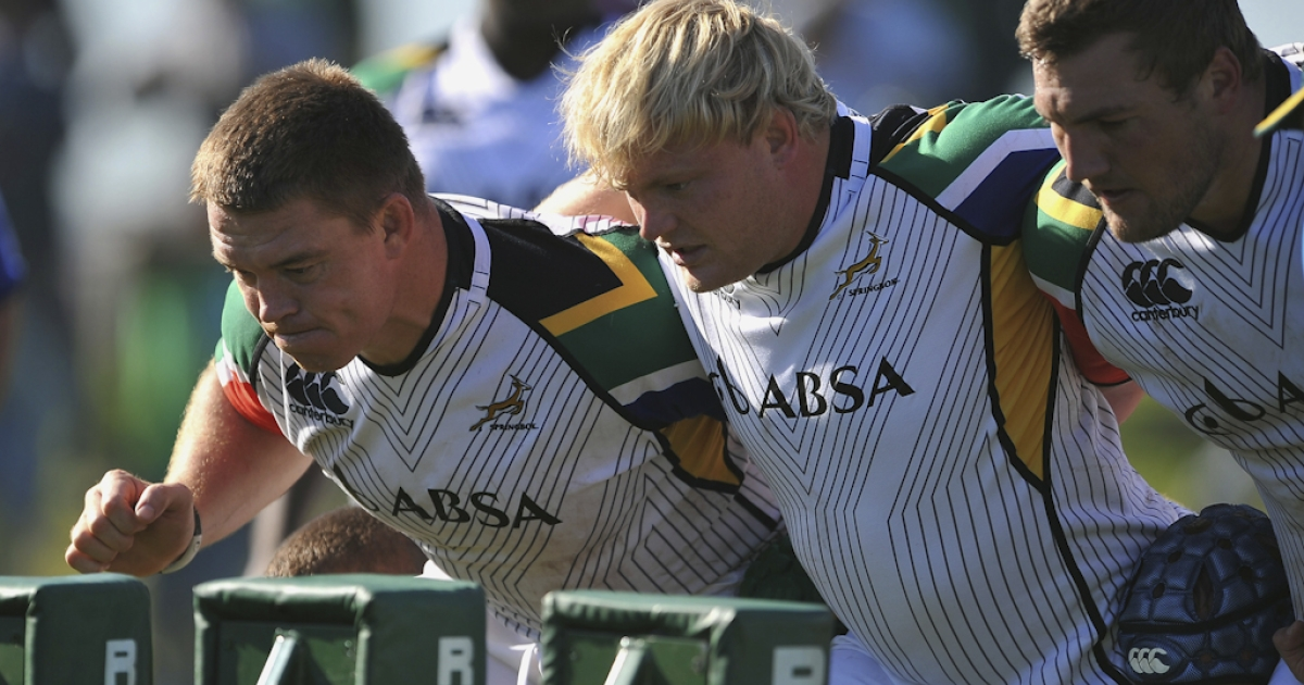 John Smit (L) and Adriaan Strauss of South Africa's national rugby team attend a training camp in Cape Town ahead of their first match of the Tri-Nations rugby championships, in Sydney, Australia.</p>