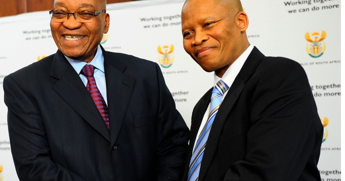 South African President Jacob Zuma congratulates his new Chief Justice Mogoeng Mogoeng in Pretoria on September 8, 2011.</p>