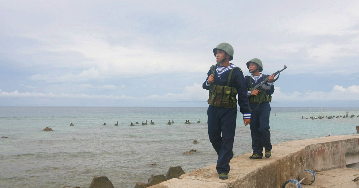 This picture taken by Vietnam News Agency and released on June 14, 2011 shows Vietnamese sailors patrolling on Phan Vinh Island in the Spratly archipelago. Vietnam put on a show of military strength in the tense South China Sea on June 13, risking the ire of Beijing in the face of a deepening maritime rift with its powerful neighbor.</p>