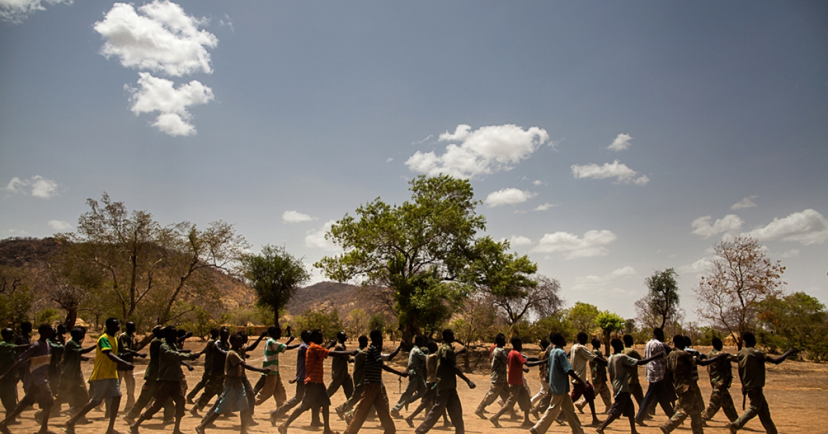 New SPLA-North trainees march during drills at their camp in the Nuba Mountains.</p>