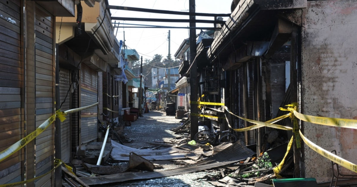 A general view shows damage caused to buildings on South Korea's Yeonpyeong Island on December 3, 2010 following a North Korean artillery and rocket attack on November 23. Tensions remained high on both sides of the Demilitarized Zone that has bisected the Korean peninsula since the 1950-53 war ended in a stalemate.</p>