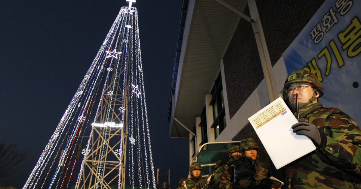 Last year, South Korean soldiers stood guard at the Christmas tree lighting ceremony near the land border in Gimpo. The ceremony will occur again this year, raising tensions between the country and its northern counterpart once more.</p>