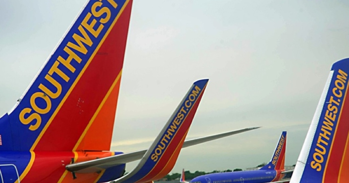 Southwest Airlines passenger planes are seen at Chicago's Midway Airport on May 31, 2012.</p>