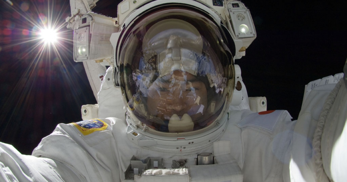 In this handout from NASA, Japan Aerospace Exploration Agency astronaut Aki Hoshide participates in a mission outside the International Space Station on September 5, 2012.</p>
