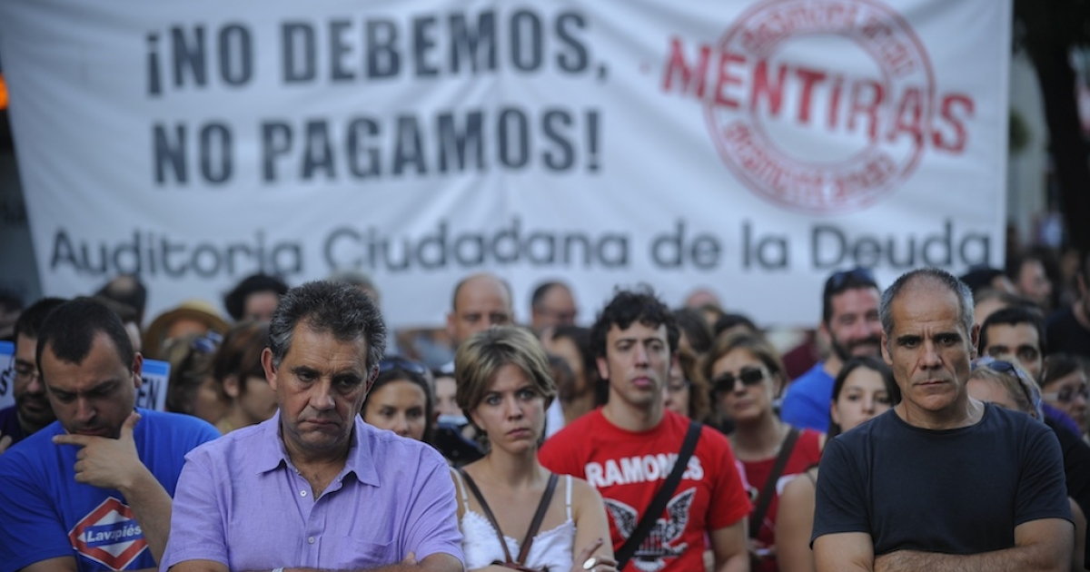Demonstrators take part in an anti-austerity protest in Madrid on Sept. 22, 2012. Hundreds of Spaniards marched in Madrid to protest over hardships in a recession brought on by the financial crisis that they blame on banks and corrupt politicians.</p>
