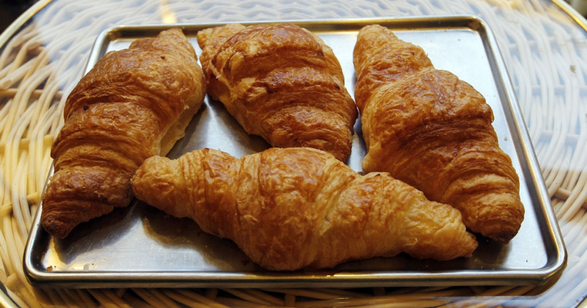 Croissants are displayed at a bakery on Nov. 16, 2010 in Paris, France.</p>