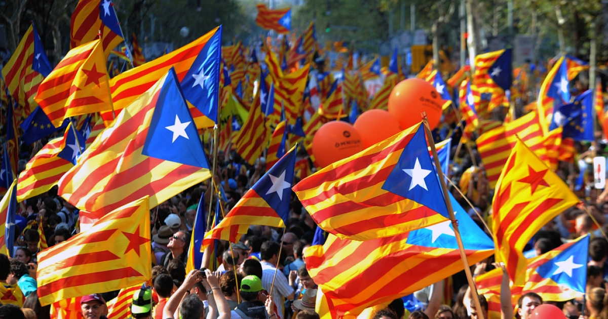 Supporters of independence for Catalonia demonstrate on September 11, 2012 in Barcelona to mark the Spanish region's official day, amid growing protests over Spain's financial crisis which has driven it to seek aid from the central government. Catalonia's leader warned of a