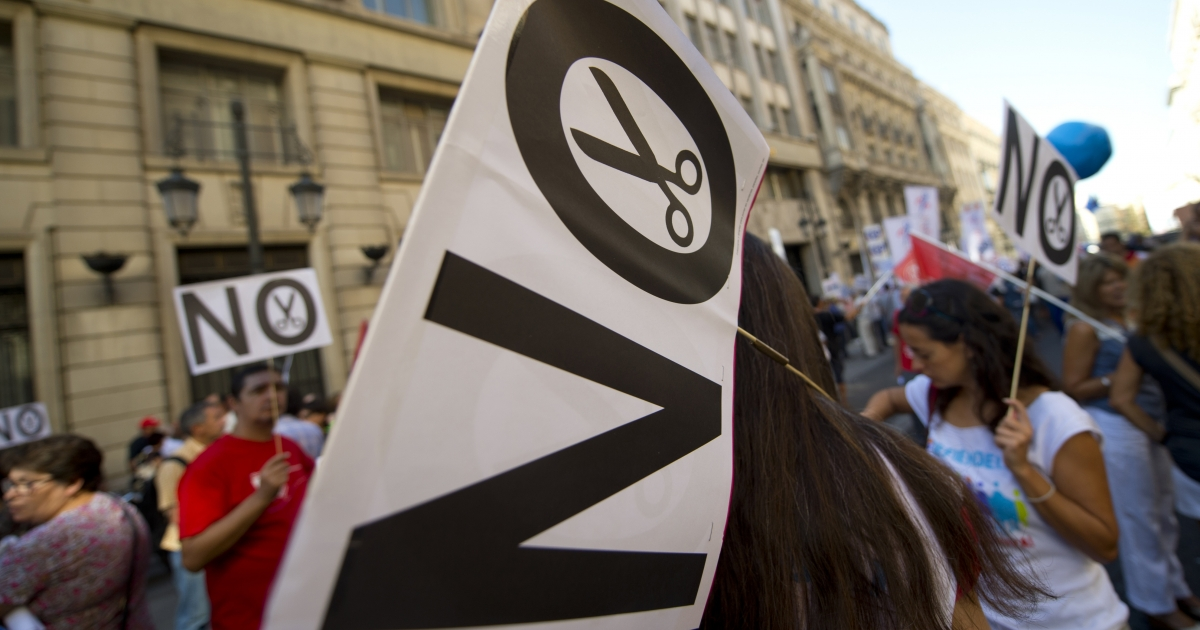 Spaniards protest austerity measures in Madrid this week.</p>