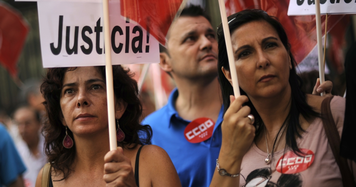 Spaniards protest against austerity measures that have helped drastically reduce their spending power.</p>