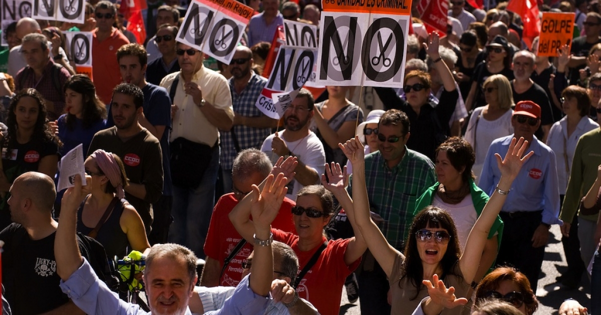 Thousands of people took to the streets of Madrid on Oct. 7 to protest the government's punishing austerity measures.</p>