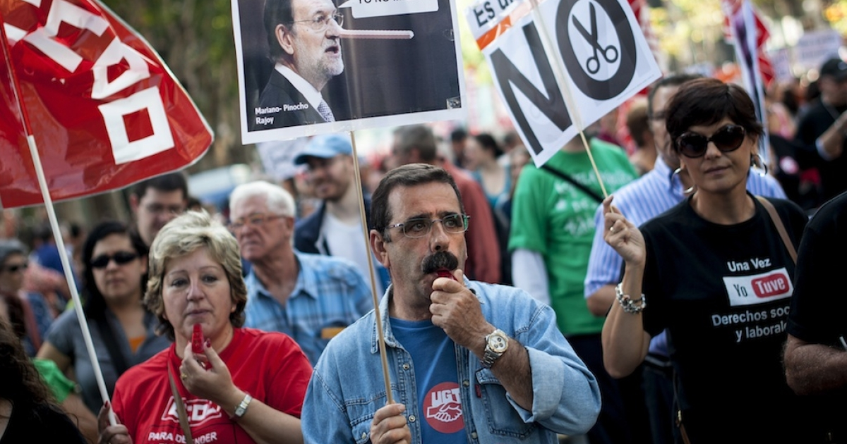 People across Spain have been staging regular protests against government austerity measures they say are simply exacerbating the country's economic crisis.</p>