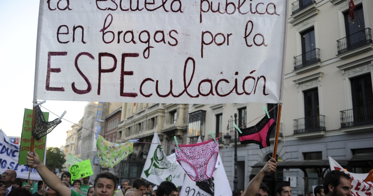 In a similar event in 2011, teachers demonstrated in Madrid to protest education spending cuts at a time when Spanish regions are under pressure to shore up their finances. Unions said between 70 and 80 percent of the region's 21,000 high school teachers joined the strike.</p>